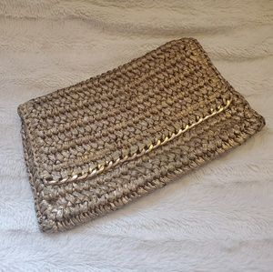 H&M Gold Straw and Chain Clutch NWT